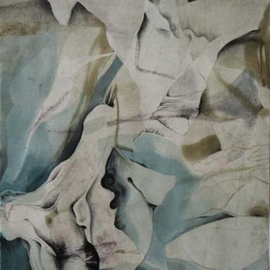 "Monoprint with conté crayon, pastel, charcoal, and graphite 12"" x 10"""