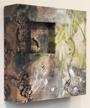 """Mixed Media: intaglio, with hand coloring on carved wood, and found object 24"""" x 24"""" x 6"""""""