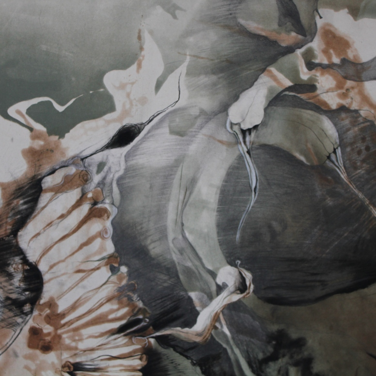 Monoprint with conté crayon, pastel, charcoal, and graphite