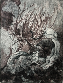 """Rooted, 2018, Intaglio 12"""" x 9"""""""